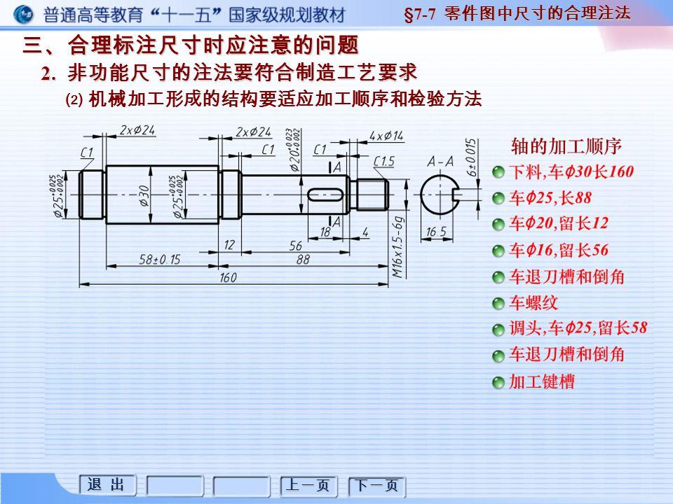退 出 退 出 上一页 下一页 三、合理标注尺寸时应注意的问题 2. 非功能尺寸的注法要符合制造工艺要求 §7-7 零件图中尺寸的合理注法 ⑵ 机械加工形成的结构要适应加工顺序和检验方法