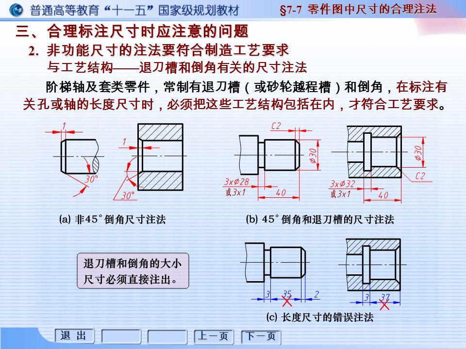 退 出 退 出 上一页 下一页 三、合理标注尺寸时应注意的问题 2. 非功能尺寸的注法要符合制造工艺要求 §7-7 零件图中尺寸的合理注法 与工艺结构 —— 退刀槽和倒角有关的尺寸注法 阶梯轴及套类零件,常制有退刀槽(或砂轮越程槽)和倒角,在标注有 关孔或轴的长度尺寸时,必须把这些工艺结构包括在内,