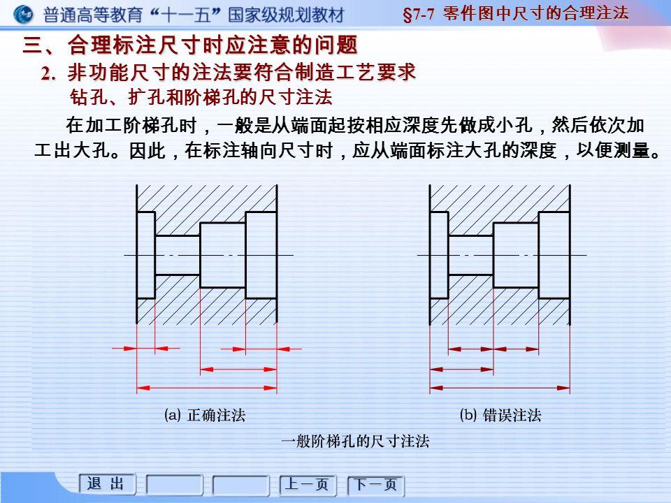 退 出 退 出 上一页 下一页 三、合理标注尺寸时应注意的问题 2. 非功能尺寸的注法要符合制造工艺要求 §7-7 零件图中尺寸的合理注法 钻孔、扩孔和阶梯孔的尺寸注法 在加工阶梯孔时,一般是从端面起按相应深度先做成小孔,然后依次加 工出大孔。因此,在标注轴向尺寸时,应从端面标注大孔的深度,以便测量