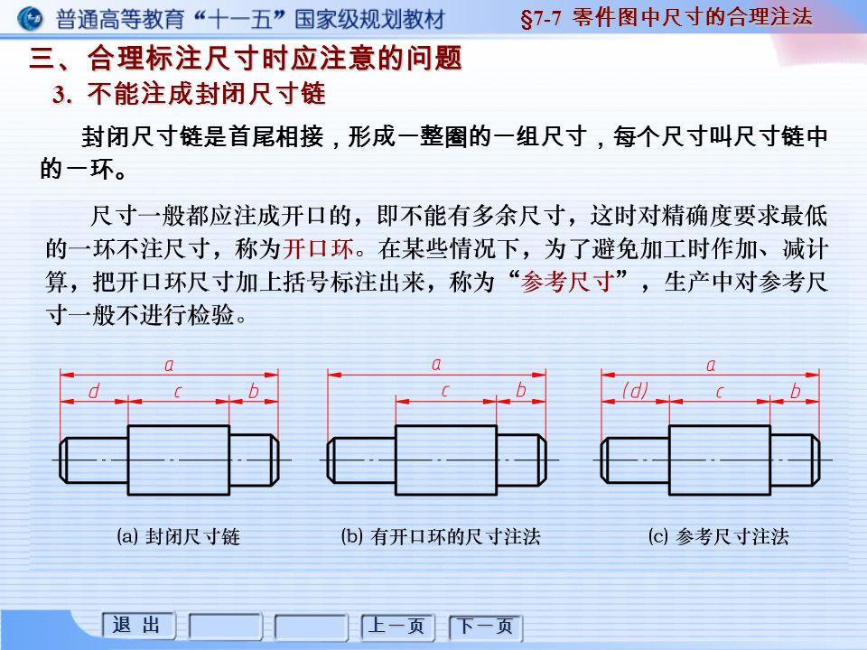 退 出 退 出 上一页 下一页 三、合理标注尺寸时应注意的问题 3. 不能注成封闭尺寸链 §7-7 零件图中尺寸的合理注法 封闭尺寸链是首尾相接,形成一整圈的一组尺寸,每个尺寸叫尺寸链中 的一环。