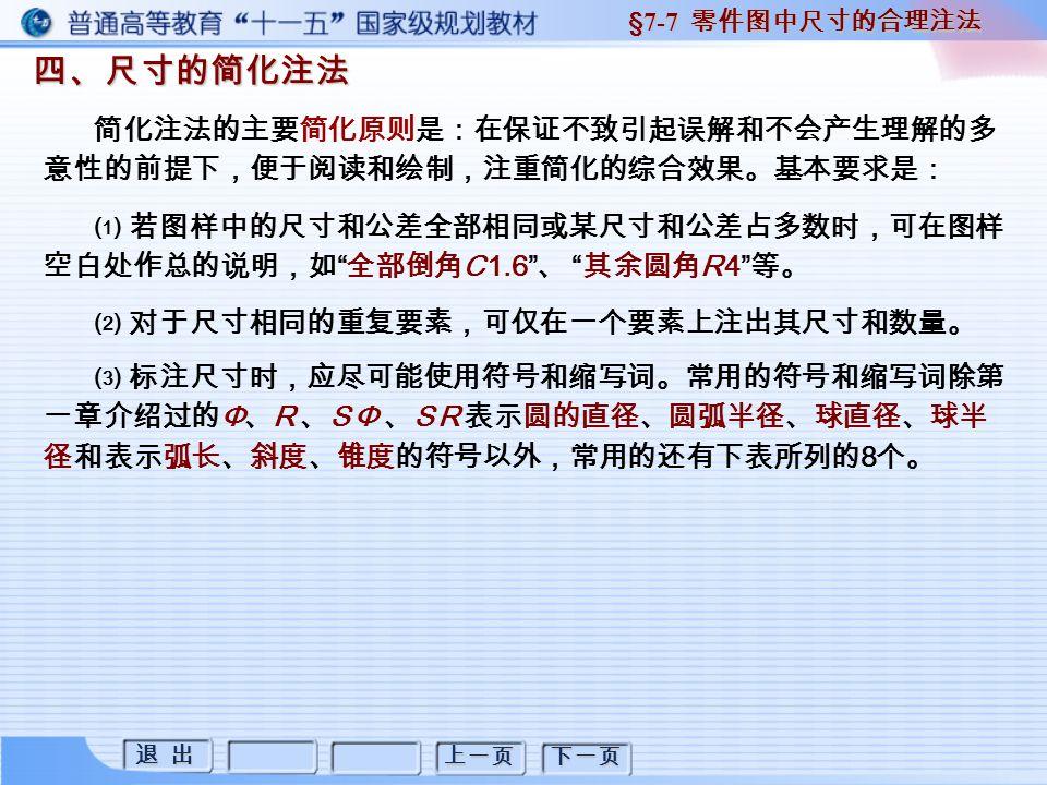 退 出 退 出 上一页 下一页 四、尺寸的简化注法 四、尺寸的简化注法 §7-7 零件图中尺寸的合理注法 简化注法的主要简化原则是:在保证不致引起误解和不会产生理解的多 意性的前提下,便于阅读和绘制,注重简化的综合效果。基本要求是: ⑴ 若图样中的尺寸和公差全部相同或某尺寸和公差占多数时,可在图样