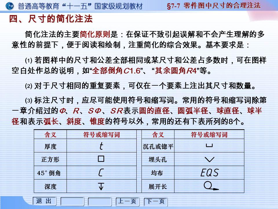退 出 退 出 上一页 下一页 四、尺寸的简化注法 四、尺寸的简化注法 §7-7 零件图中尺寸的合理注法 简化注法的主要简化原则是:在保证不致引起误解和不会产生理解的多 意性的前提下,便于阅读和绘制,注重简化的综合效果。基本要求是: ⑴ 若图样中的尺寸和公差全部相同或某尺寸和公差占多数时,可在图样 空白处作总的说明,如 全部倒角 C 1.6 、 其余圆角 R 4 等。 ⑵ 对于尺寸相同的重复要素,可仅在一个要素上注出其尺寸和数量。 ⑶ 标注尺寸时,应尽可能使用符号和缩写词。常用的符号和缩写词除第 一章介绍过的 Φ 、 R 、 S Φ 、 S R 表示圆的直径、圆弧半径、球直径、球半 径和表示弧长、斜度、锥度的符号以外,常用的还有下表所列的 8 个。