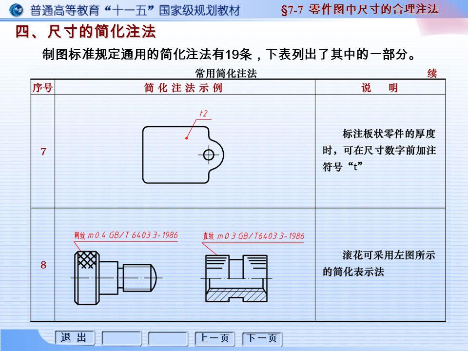 退 出 退 出 上一页 下一页 四、尺寸的简化注法 四、尺寸的简化注法 §7-7 零件图中尺寸的合理注法 制图标准规定通用的简化注法有 19 条,下表列出了其中的一部分。