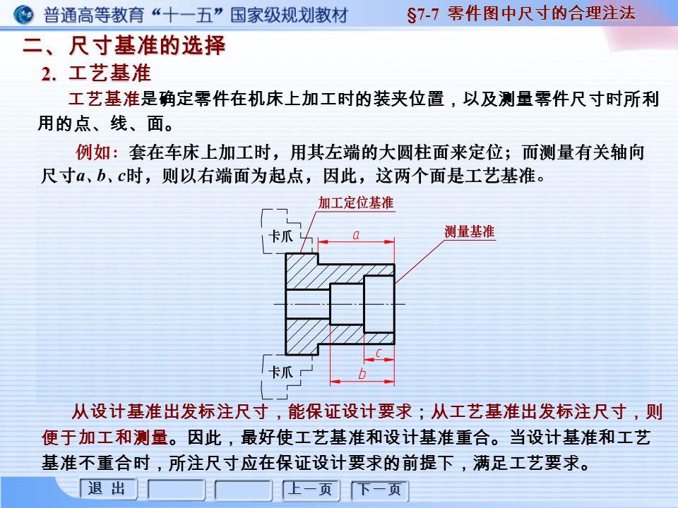 退 出 退 出 上一页 下一页 二、尺寸基准的选择 2. 工艺基准 §7-7 零件图中尺寸的合理注法 工艺基准是确定零件在机床上加工时的装夹位置,以及测量零件尺寸时所利 用的点、线、面。 从设计基准出发标注尺寸,能保证设计要求;从工艺基准出发标注尺寸,则 便于加工和测量。因此,最好使工艺基准和设计基