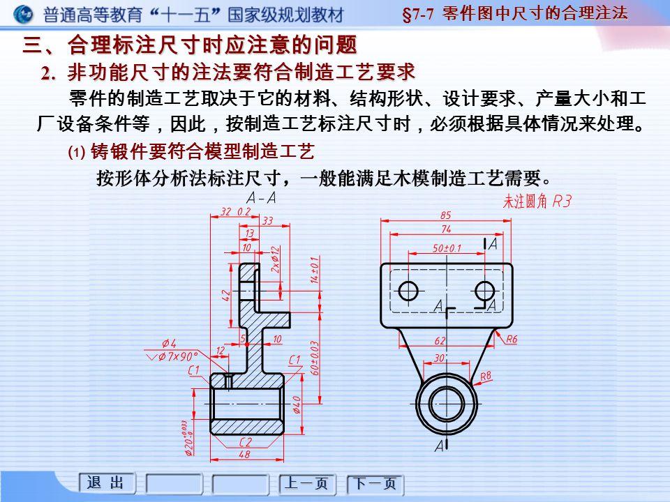 退 出 退 出 上一页 下一页 三、合理标注尺寸时应注意的问题 2. 非功能尺寸的注法要符合制造工艺要求 §7-7 零件图中尺寸的合理注法 零件的制造工艺取决于它的材料、结构形状、设计要求、产量大小和工 厂设备条件等,因此,按制造工艺标注尺寸时,必须根据具体情况来处理。 ⑴ 铸锻件要符合模型制造工艺