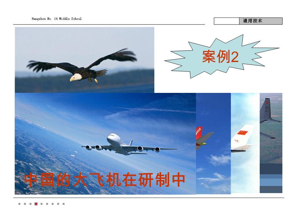 案例 2 人类飞翔的梦想源于展翅高飞的鸟, 鸟因为有它自由流畅的体形和翅膀结 构,飞机原型源于飞鸟形体结构的仿 生。 中国的大飞机在研制中