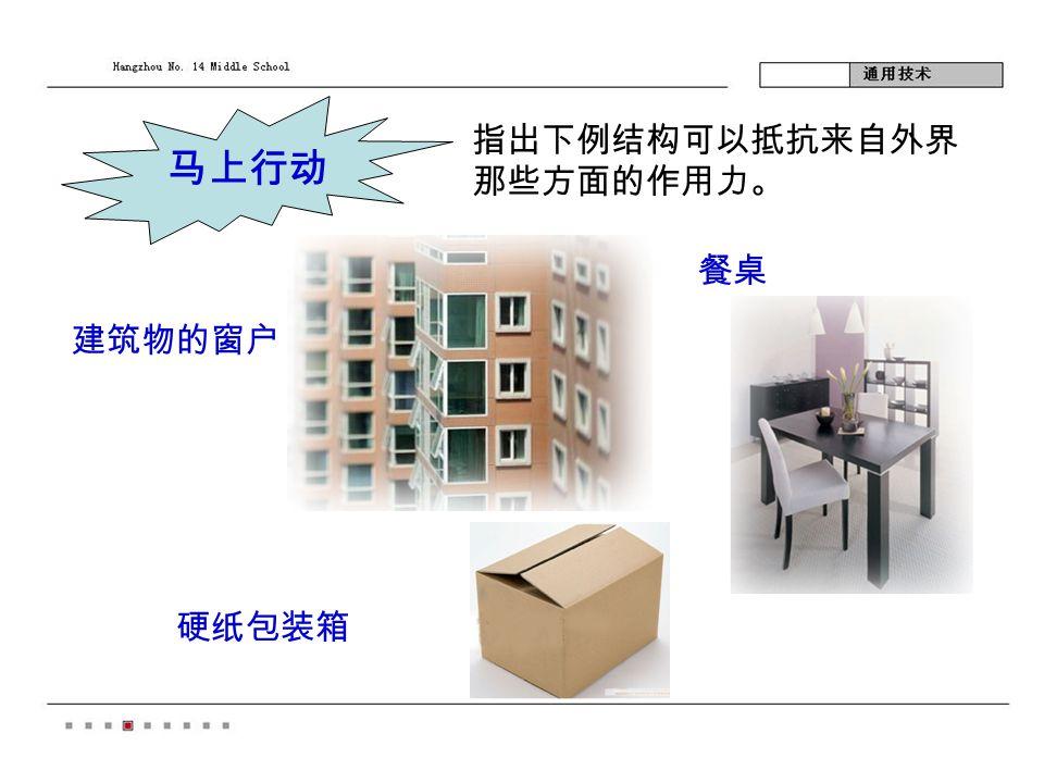 马上行动 指出下例结构可以抵抗来自外界 那些方面的作用力。 建筑物的窗户 餐桌 硬纸包装箱