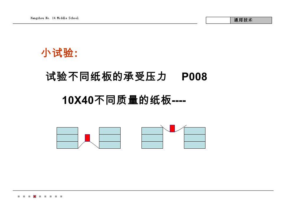小试验 : 试验不同纸板的承受压力 P008 10X40 不同质量的纸板 ----