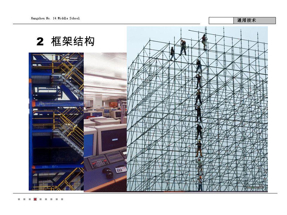2 框架结构 受力情况:空间框架 体。如铁塔架,脚手 架,建筑框架体。