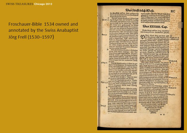 Froschauer-Bible 1534 owned and annotated by the Swiss Anabaptist Jörg Frell (1530–1597 )