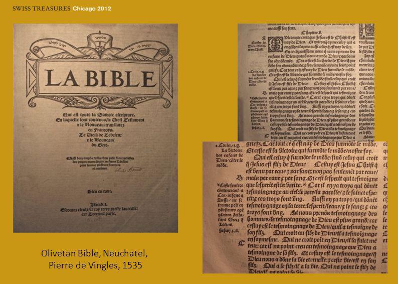 Olivetan Bible, Neuchatel, Pierre de Vingles, 1535