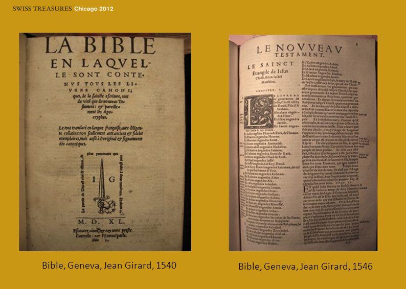 Bible, Geneva, Jean Girard, 1540 Bible, Geneva, Jean Girard, 1546