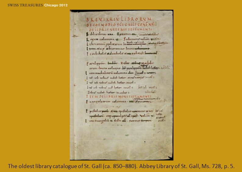 The oldest library catalogue of St. Gall (ca. 850–880). Abbey Library of St. Gall, Ms. 728, p. 5.