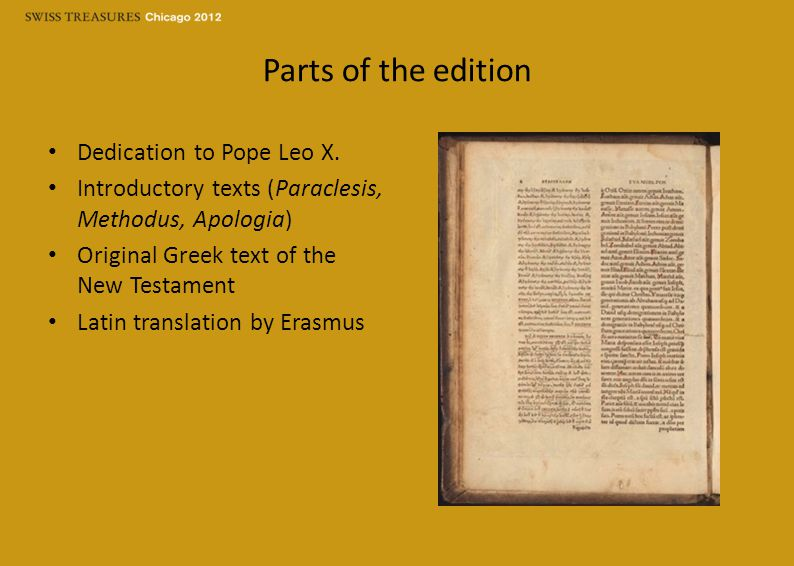 Parts of the edition Dedication to Pope Leo X.