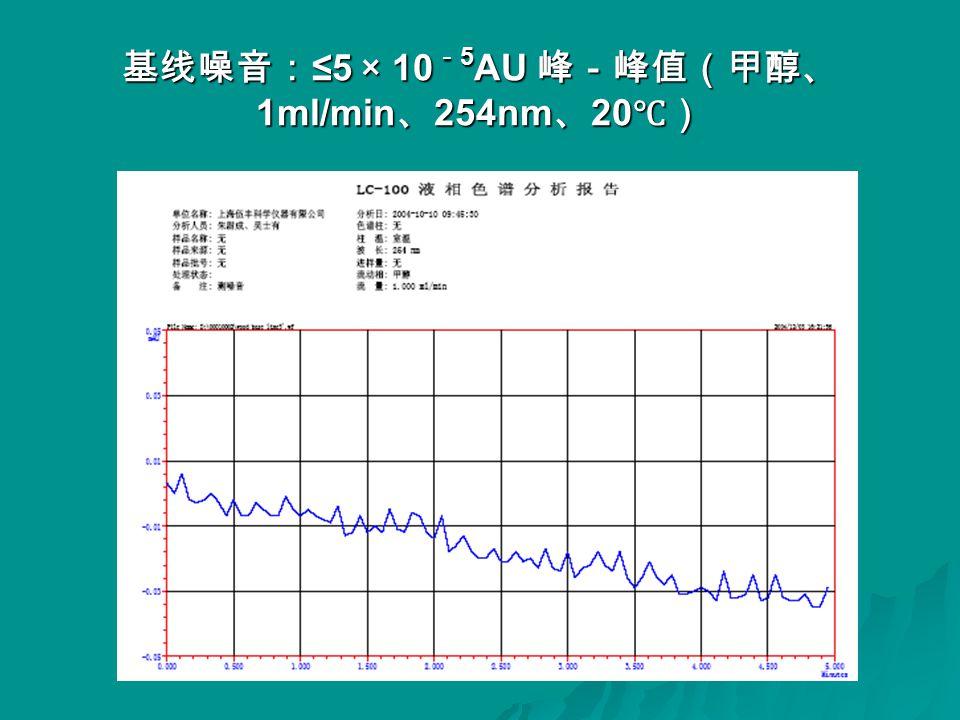 基线噪音: ≤5 × 10 - 5 AU 峰-峰值(甲醇、 1ml/min 、 254nm 、 20 ℃)