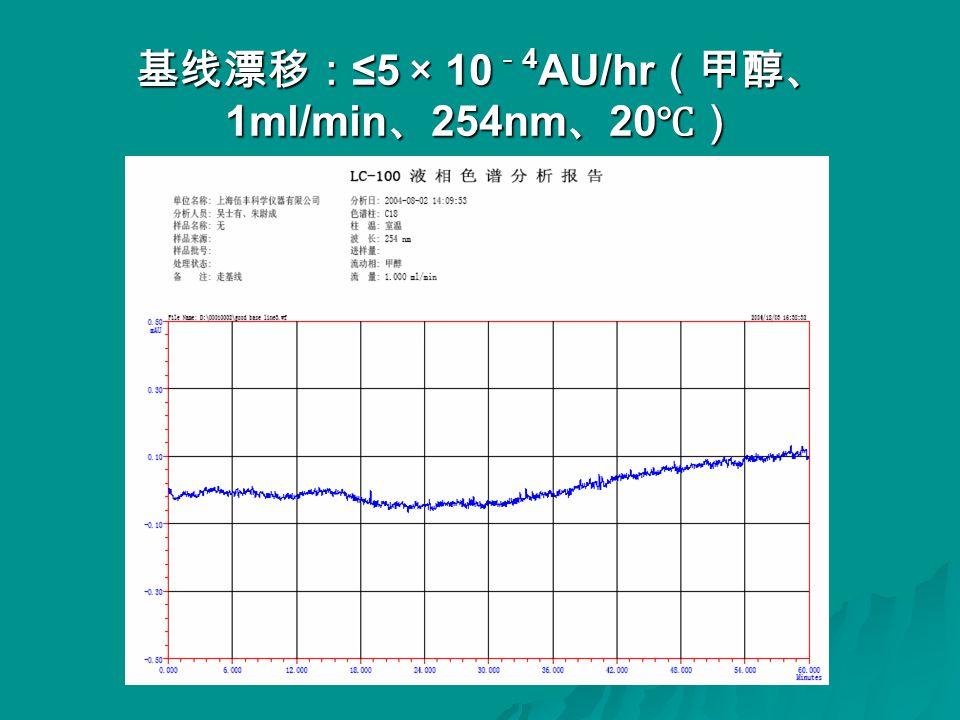 基线漂移: ≤5 × 10 - 4 AU/hr (甲醇、 1ml/min 、 254nm 、 20 ℃)