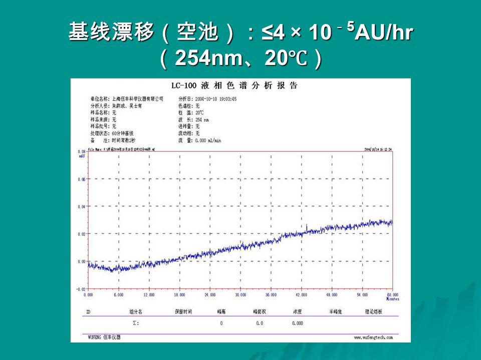 基线漂移(空池): ≤4 × 10 - 5 AU/hr ( 254nm 、 20 ℃)