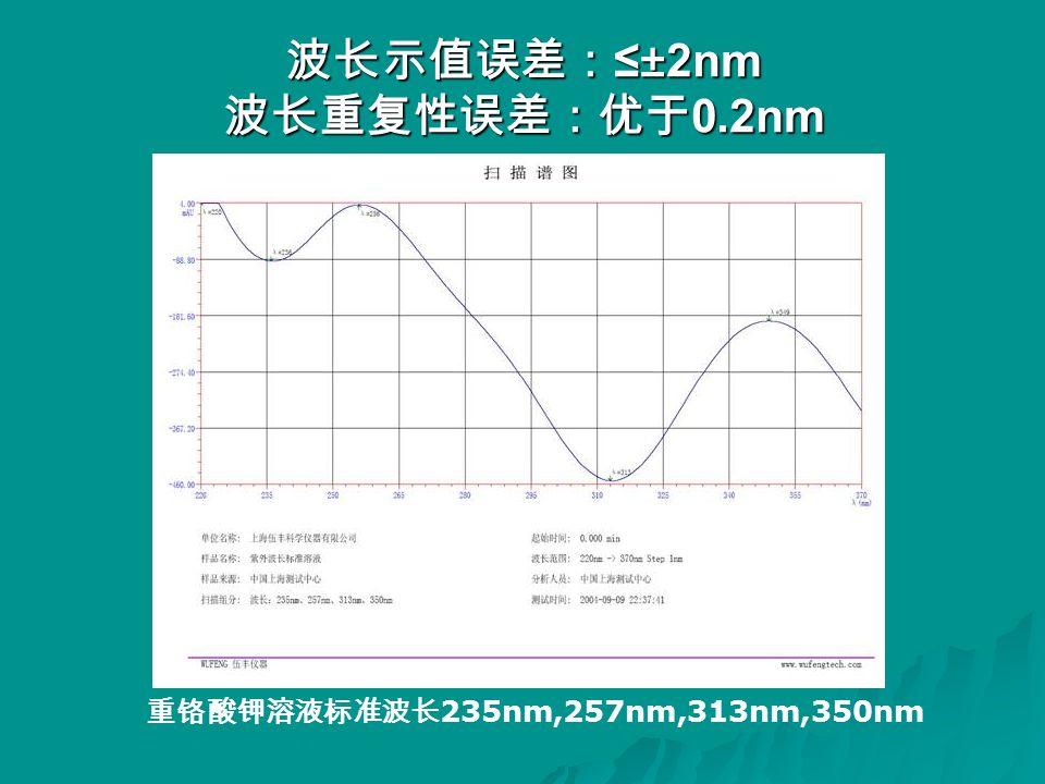 波长示值误差: ≤±2nm 波长重复性误差:优于 0.2nm 重铬酸钾溶液标准波长 235nm,257nm,313nm,350nm