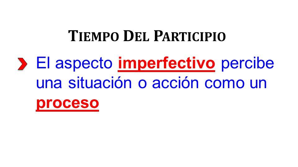 El aspecto imperfectivo percibe una situación o acción como un proceso T IEMPO D EL P ARTICIPIO