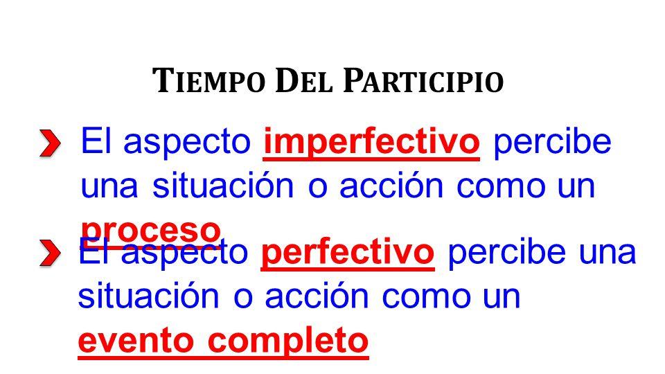 El aspecto imperfectivo percibe una situación o acción como un proceso T IEMPO D EL P ARTICIPIO El aspecto perfectivo percibe una situación o acción como un evento completo