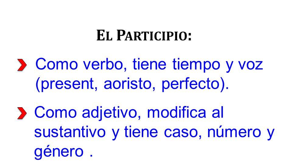 Como verbo, tiene tiempo y voz (present, aoristo, perfecto).