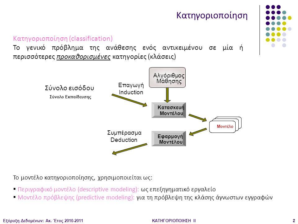 Εξόρυξη Δεδομένων: Ακ. Έτος 2010-2011ΚΑΤΗΓΟΡΙΟΠΟΙΗΣΗ II2 Κατηγοριοποίηση Κατηγοριοποίηση (classification) Το γενικό πρόβλημα της ανάθεσης ενός αντικει