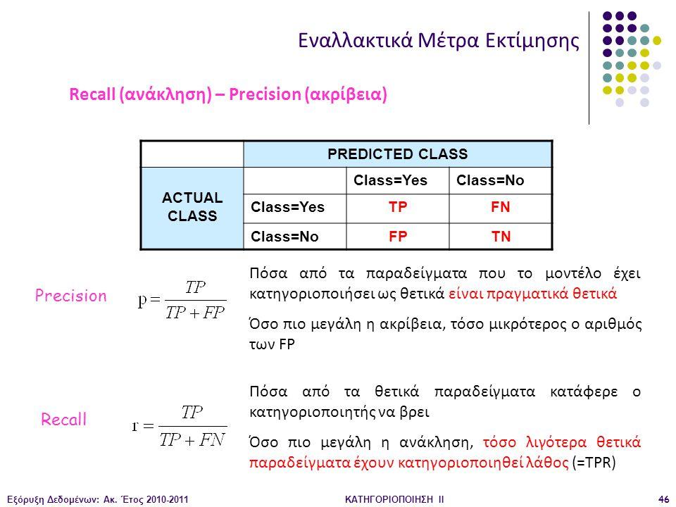 Εξόρυξη Δεδομένων: Ακ. Έτος 2010-2011ΚΑΤΗΓΟΡΙΟΠΟΙΗΣΗ II46 PREDICTED CLASS ACTUAL CLASS Class=YesClass=No Class=YesTPFN Class=NoFPTN Εναλλακτικά Μέτρα
