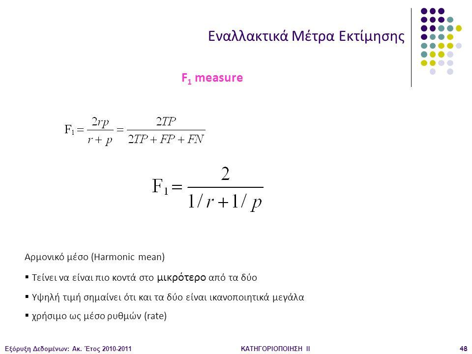 Εξόρυξη Δεδομένων: Ακ. Έτος 2010-2011ΚΑΤΗΓΟΡΙΟΠΟΙΗΣΗ II48 Εναλλακτικά Μέτρα Εκτίμησης F 1 measure Αρμονικό μέσο (Harmonic mean)  Τείνει να είναι πιο