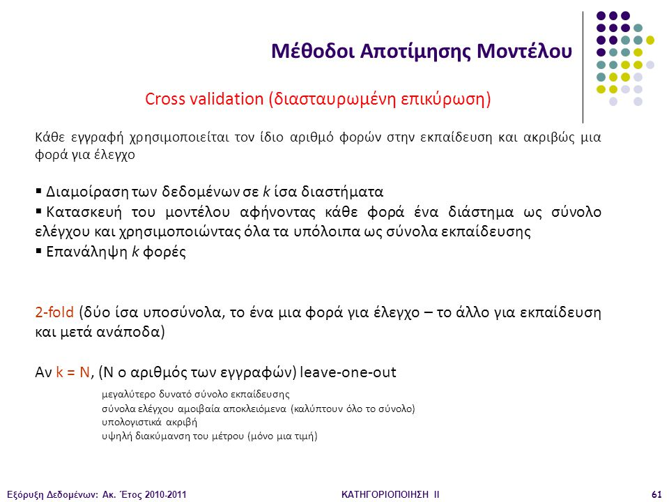 Εξόρυξη Δεδομένων: Ακ. Έτος 2010-2011ΚΑΤΗΓΟΡΙΟΠΟΙΗΣΗ II61 Μέθοδοι Αποτίμησης Μοντέλου Cross validation (διασταυρωμένη επικύρωση) Κάθε εγγραφή χρησιμοπ