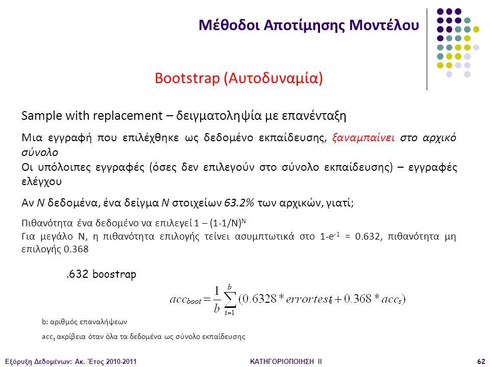 Εξόρυξη Δεδομένων: Ακ. Έτος 2010-2011ΚΑΤΗΓΟΡΙΟΠΟΙΗΣΗ II62 Bootstrap (Αυτοδυναμία) Sample with replacement – δειγματοληψία με επανένταξη Μια εγγραφή πο