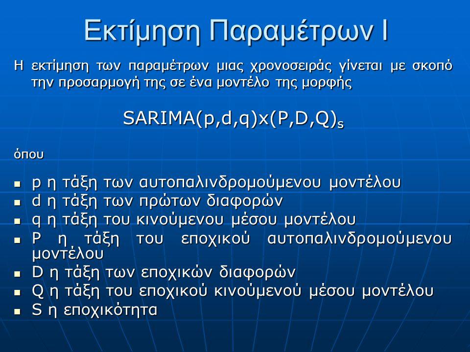 Εκτίμηση Παραμέτρων I Η εκτίμηση των παραμέτρων μιας χρονοσειράς γίνεται με σκοπό την προσαρμογή της σε ένα μοντέλο της μορφής SARIMA(p,d,q)x(P,D,Q) s