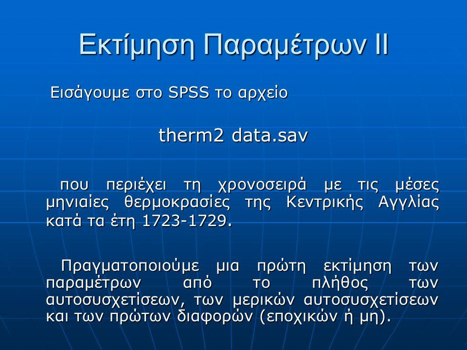 Εισάγουμε στο SPSS το αρχείο Εισάγουμε στο SPSS το αρχείο therm2 data.sav που περιέχει τη χρονοσειρά με τις μέσες μηνιαίες θερμοκρασίες της Κεντρικής