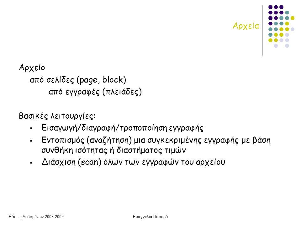 Βάσεις Δεδομένων 2008-2009Ευαγγελία Πιτουρά Αρχείο από σελίδες (page, block) από εγγραφές (πλειάδες) Βασικές λειτουργίες:  Εισαγωγή/διαγραφή/τροποποίηση εγγραφής  Εντοπισμός (αναζήτηση) μια συγκεκριμένης εγγραφής με βάση συνθήκη ισότητας ή διαστήματος τιμών  Διάσχιση (scan) όλων των εγγραφών του αρχείου Αρχεία