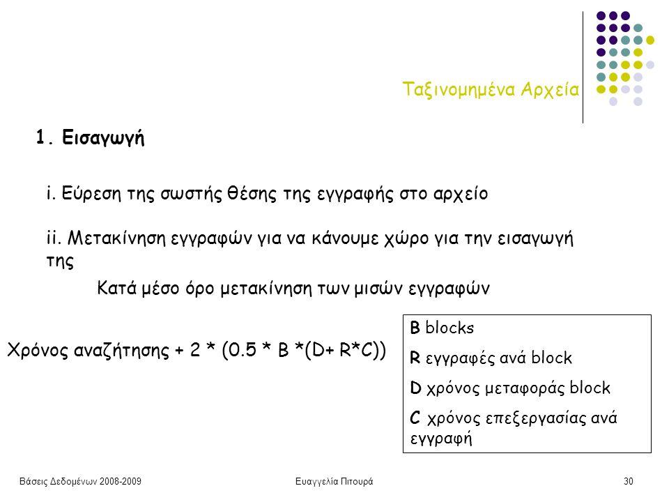 Βάσεις Δεδομένων 2008-2009Ευαγγελία Πιτουρά30 Ταξινομημένα Αρχεία 1.