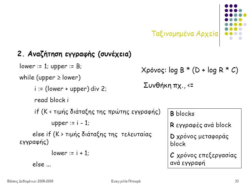 Βάσεις Δεδομένων 2008-2009Ευαγγελία Πιτουρά33 Ταξινομημένα Αρχεία 2.