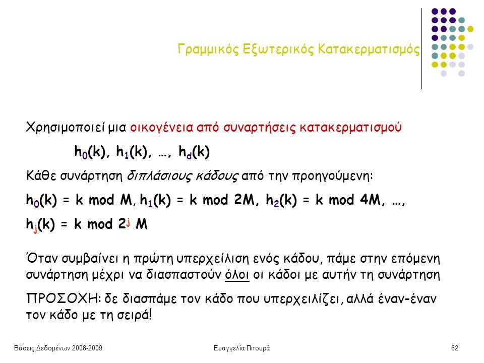 Βάσεις Δεδομένων 2008-2009Ευαγγελία Πιτουρά62 Γραμμικός Εξωτερικός Κατακερματισμός Χρησιμοποιεί μια οικογένεια από συναρτήσεις κατακερματισμού h 0 (k), h 1 (k), …, h d (k) Κάθε συνάρτηση διπλάσιους κάδους από την προηγούμενη: h 0 (k) = k mod M, h 1 (k) = k mod 2M, h 2 (k) = k mod 4M, …, h j (k) = k mod 2 j M Όταν συμβαίνει η πρώτη υπερχείλιση ενός κάδου, πάμε στην επόμενη συνάρτηση μέχρι να διασπαστούν όλοι οι κάδοι με αυτήν τη συνάρτηση ΠΡΟΣΟΧΗ: δε διασπάμε τον κάδο που υπερχειλίζει, αλλά έναν-έναν τον κάδο με τη σειρά!