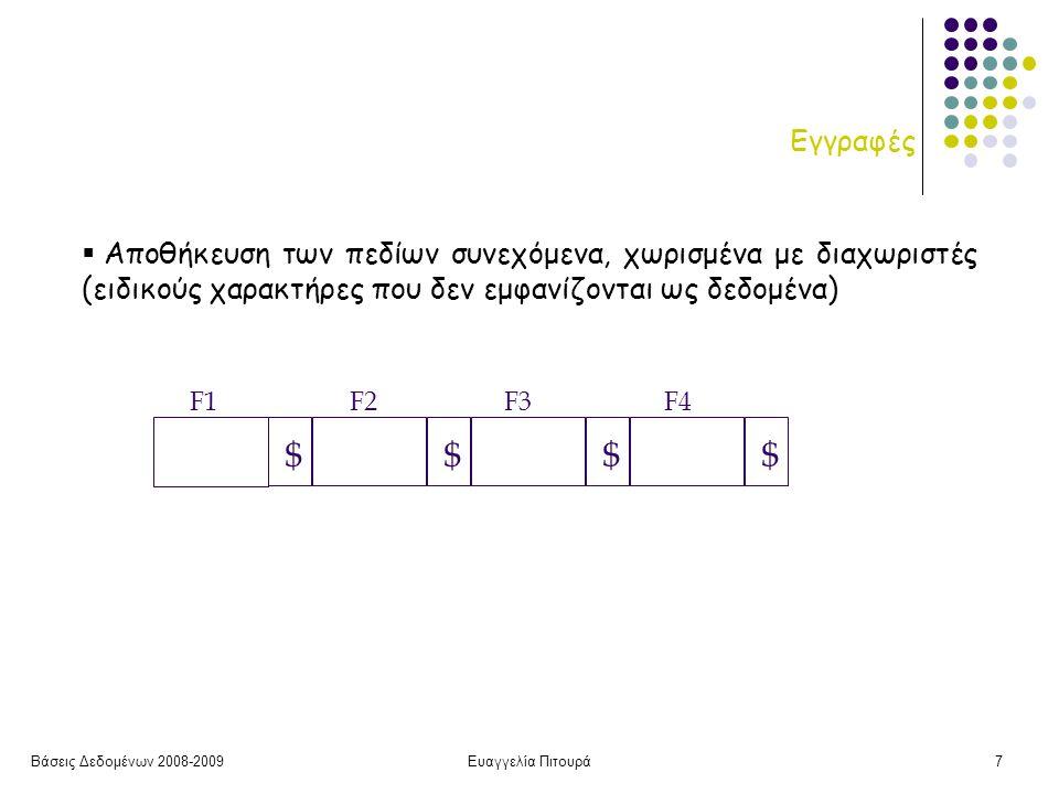 Βάσεις Δεδομένων 2008-2009Ευαγγελία Πιτουρά7 Εγγραφές  Αποθήκευση των πεδίων συνεχόμενα, χωρισμένα με διαχωριστές (ειδικούς χαρακτήρες που δεν εμφανίζονται ως δεδομένα) $$ $$ F1 F2 F3 F4