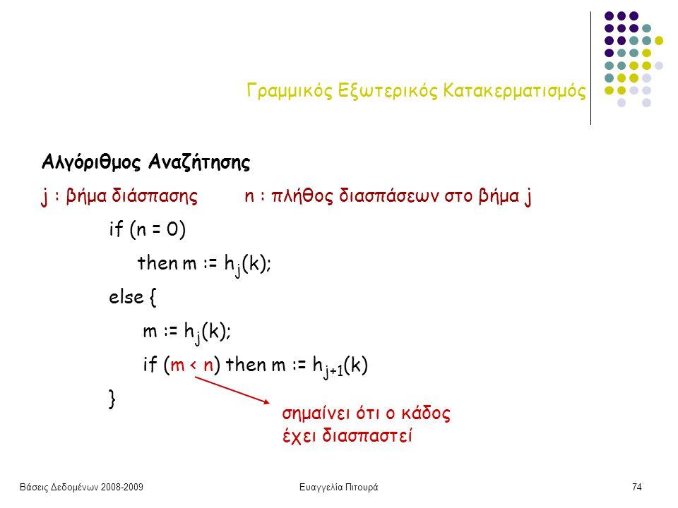Βάσεις Δεδομένων 2008-2009Ευαγγελία Πιτουρά74 Γραμμικός Εξωτερικός Κατακερματισμός Αλγόριθμος Αναζήτησης j : βήμα διάσπασηςn : πλήθος διασπάσεων στο βήμα j if (n = 0) then m := h j (k); else { m := h j (k); if (m < n) then m := h j+1 (k) } σημαίνει ότι ο κάδος έχει διασπαστεί