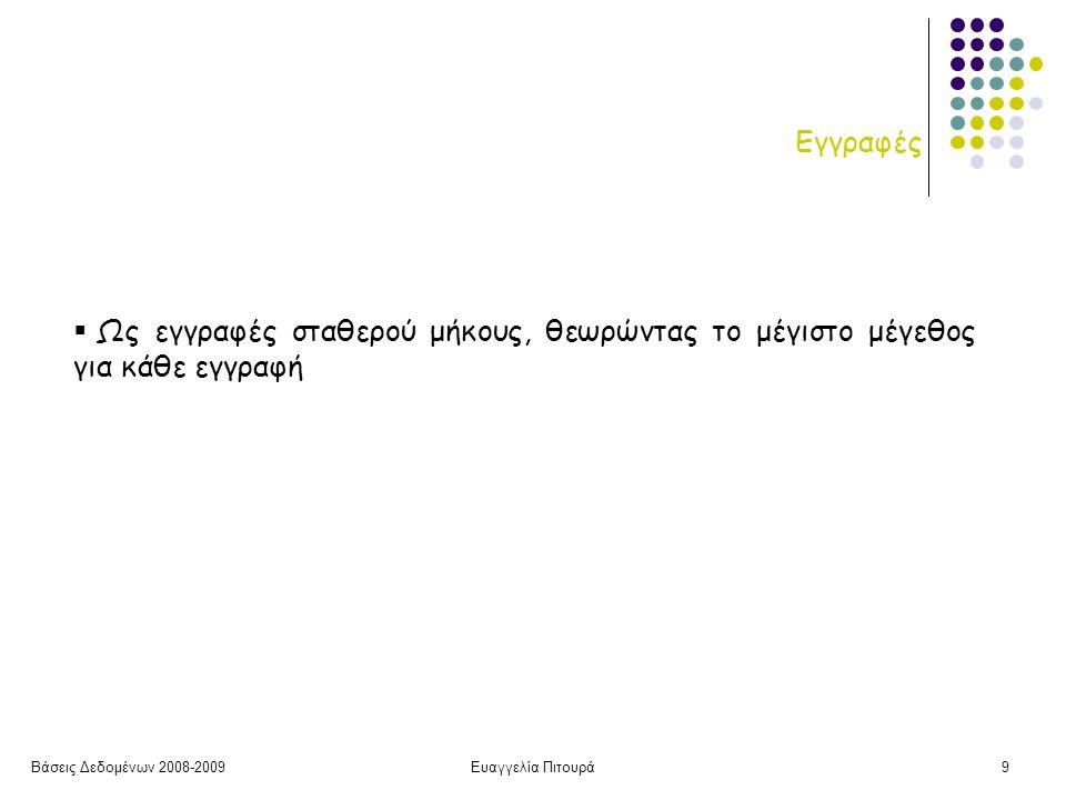 Βάσεις Δεδομένων 2008-2009Ευαγγελία Πιτουρά9 Εγγραφές  Ως εγγραφές σταθερού μήκους, θεωρώντας το μέγιστο μέγεθος για κάθε εγγραφή