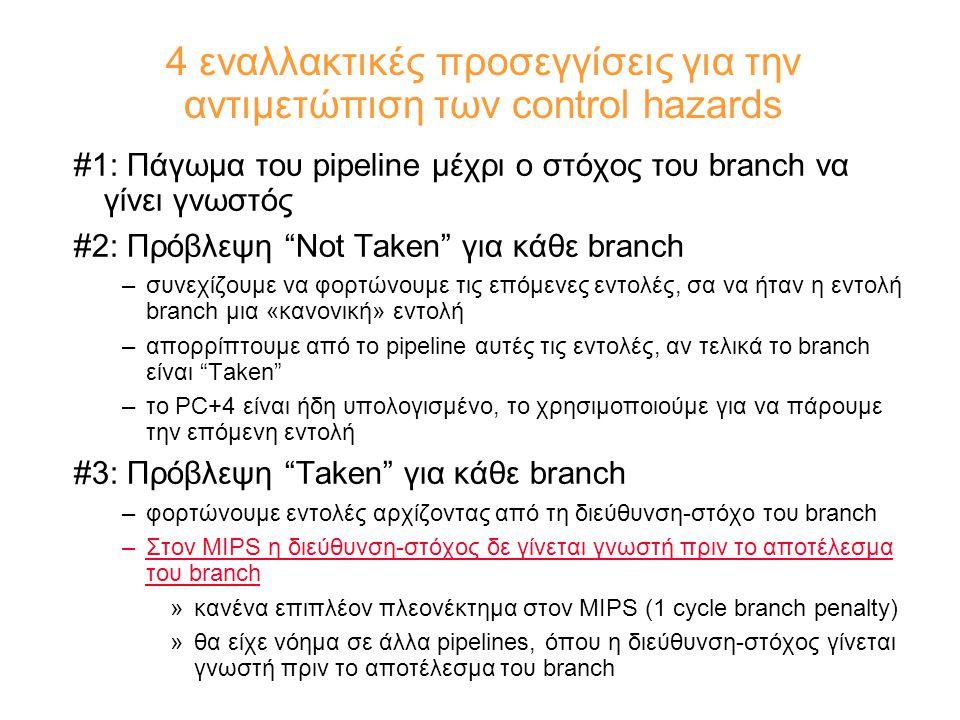 4 εναλλακτικές προσεγγίσεις για την αντιμετώπιση των control hazards #1: Πάγωμα του pipeline μέχρι ο στόχος του branch να γίνει γνωστός #2: Πρόβλεψη Not Taken για κάθε branch –συνεχίζουμε να φορτώνουμε τις επόμενες εντολές, σα να ήταν η εντολή branch μια «κανονική» εντολή –απορρίπτουμε από το pipeline αυτές τις εντολές, αν τελικά το branch είναι Taken –το PC+4 είναι ήδη υπολογισμένο, το χρησιμοποιούμε για να πάρουμε την επόμενη εντολή #3: Πρόβλεψη Taken για κάθε branch –φορτώνουμε εντολές αρχίζοντας από τη διεύθυνση-στόχο του branch –Στον MIPS η διεύθυνση-στόχος δε γίνεται γνωστή πριν το αποτέλεσμα του branch »κανένα επιπλέον πλεονέκτημα στον MIPS (1 cycle branch penalty) »θα είχε νόημα σε άλλα pipelines, όπου η διεύθυνση-στόχος γίνεται γνωστή πριν το αποτέλεσμα του branch
