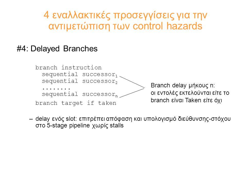 4 εναλλακτικές προσεγγίσεις για την αντιμετώπιση των control hazards #4: Delayed Branches branch instruction sequential successor 1 sequential successor 2........
