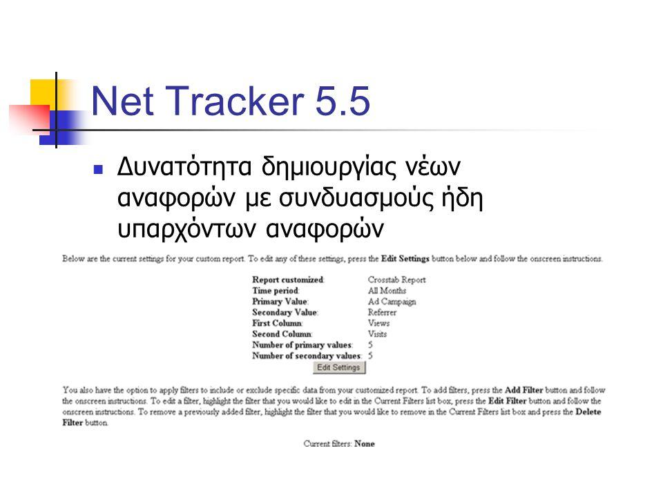 Net Tracker 5.5 Δυνατότητα δημιουργίας νέων αναφορών με συνδυασμούς ήδη υπαρχόντων αναφορών