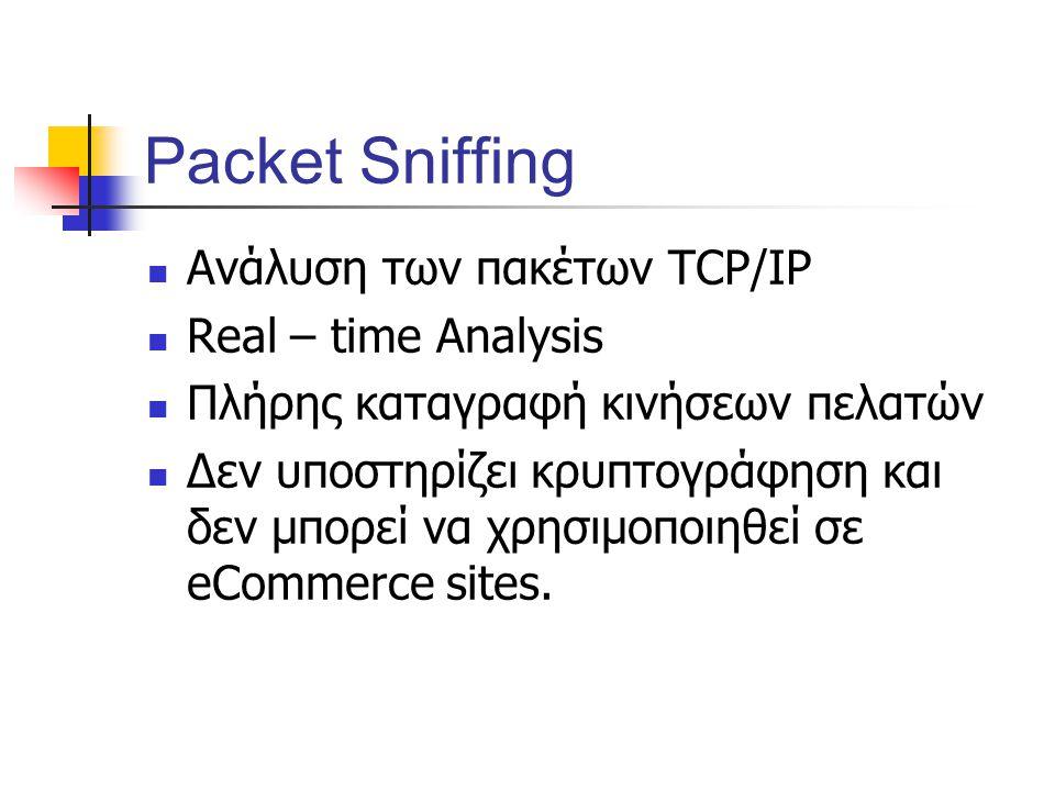 Packet Sniffing Ανάλυση των πακέτων TCP/IP Real – time Analysis Πλήρης καταγραφή κινήσεων πελατών Δεν υποστηρίζει κρυπτογράφηση και δεν μπορεί να χρησιμοποιηθεί σε eCommerce sites.
