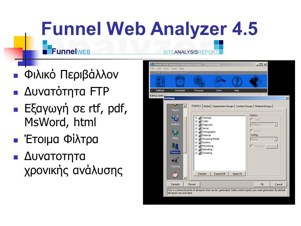Funnel Web Analyzer 4.5 Φιλικό Περιβάλλον Δυνατότητα FTP Εξαγωγή σε rtf, pdf, MsWord, html Έτοιμα Φίλτρα Δυνατοτητα χρονικής ανάλυσης