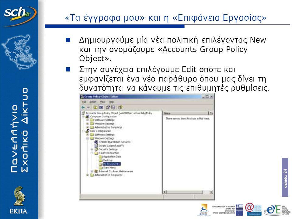 σελίδα 24 ΕΚΠΑ «Τα έγγραφα μου» και η «Επιφάνεια Εργασίας» Δημιουργούμε μία νέα πολιτική επιλέγοντας New και την ονομάζουμε «Accounts Group Policy Obj