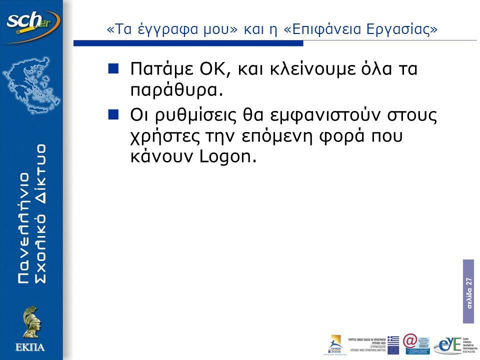 σελίδα 27 ΕΚΠΑ «Τα έγγραφα μου» και η «Επιφάνεια Εργασίας» Πατάμε ΟΚ, και κλείνουμε όλα τα παράθυρα. Οι ρυθμίσεις θα εμφανιστούν στους χρήστες την επό