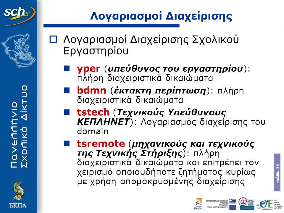 σελίδα 28 ΕΚΠΑ Λογαριασμοί Διαχείρισης  Λογαριασμοί Διαχείρισης Σχολικού Εργαστηρίου yper (υπεύθυνος του εργαστηρίου): πλήρη διαχειριστικά δικαιώματα