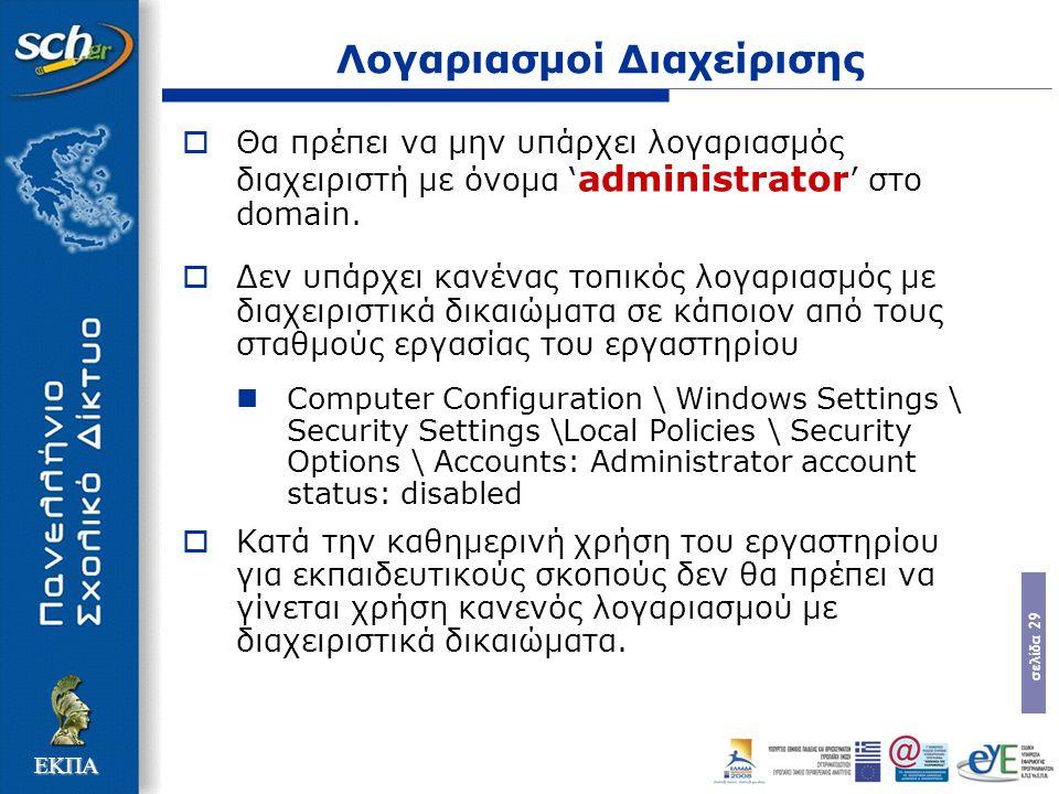 σελίδα 29 ΕΚΠΑ Λογαριασμοί Διαχείρισης  Θα πρέπει να μην υπάρχει λογαριασμός διαχειριστή με όνομα ' administrator ' στο domain.  Δεν υπάρχει κανένας