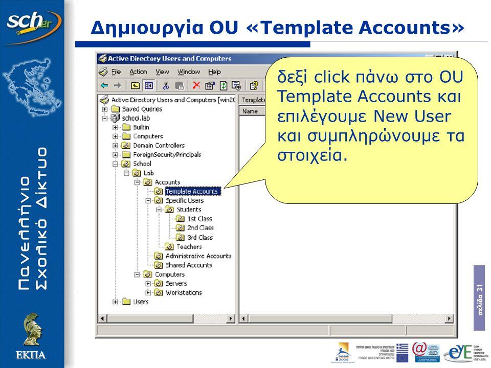 σελίδα 31 ΕΚΠΑ Δημιουργία OU «Template Accounts» δεξί click πάνω στο OU Template Accounts και επιλέγουμε New User και συμπληρώνουμε τα στοιχεία.