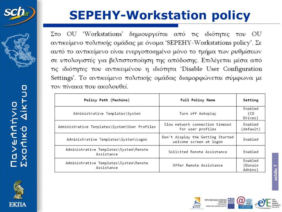 σελίδα 28 ΕΚΠΑ Λογαριασμοί Διαχείρισης  Λογαριασμοί Διαχείρισης Σχολικού Εργαστηρίου yper (υπεύθυνος του εργαστηρίου): πλήρη διαχειριστικά δικαιώματα bdmn (έκτακτη περίπτωση): πλήρη διαχειριστικά δικαιώματα tstech (Τεχνικούς Υπεύθυνους ΚΕΠΛΗΝΕΤ): Λογαριασμός διαχείρισης του domain tsremote (μηχανικούς και τεχνικούς της Τεχνικής Στήριξης): πλήρη διαχειριστικά δικαιώματα και επιτρέπει τον χειρισμό οποιουδήποτε ζητήματος κυρίως με χρήση απομακρυσμένης διαχείρισης